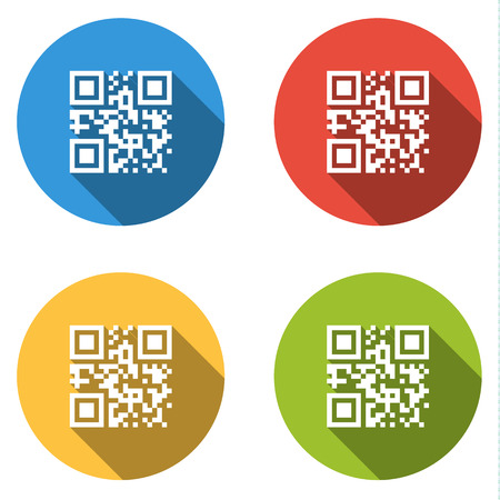 qrcode: Set of 4 isolated flat colorful buttons (icons) for qrcode with template meaning