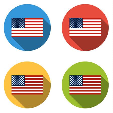 bandera inglesa: Conjunto de 4 botones de colores aislados planas (iconos) con EE.UU. BANDERA