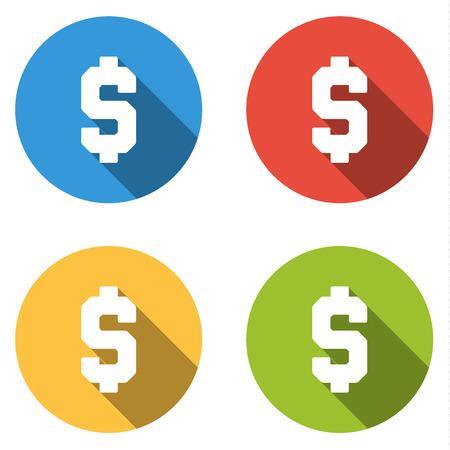 signo de pesos: Conjunto de 4 botones de colores planos aislados Vectores