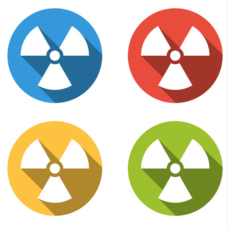 hazzard: Set of 4 isolated flat colorful buttons (icons) for radiation hazard