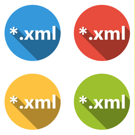 extensible: Set of 4 isolated flat colorful buttons (icons) for xml extension Illustration