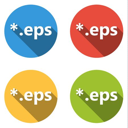 encapsulated: Set of 4 isolated flat colorful buttons (icons)