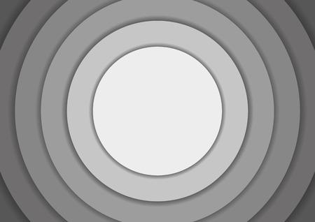 circulos concentricos: 6 círculos concéntricos en tonos de fondo gris con copyspace Vectores
