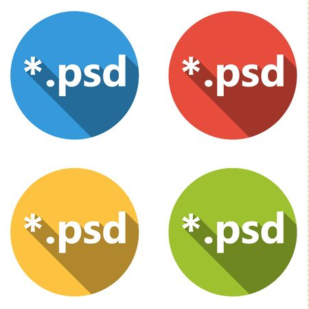 psd: Set of 4 isolated flat colorful buttons (icons) for psd extension Illustration