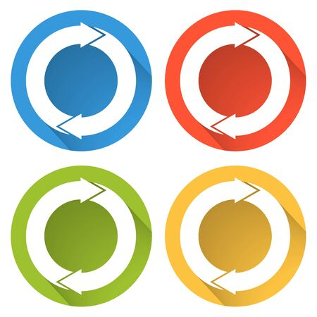 Set of 4 isolated flat colorful buttons (icons) for refresh (recover, recycle, update, ...)