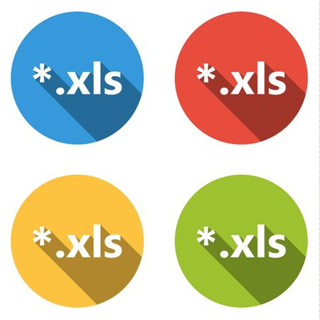 xls: Set of 4 isolated flat colorful buttons (icons) for xls extension