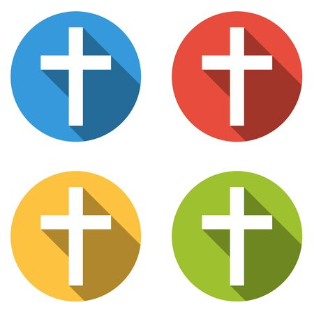 sain: Set of 4 isolated flat colorful buttons (icons) with latin cross
