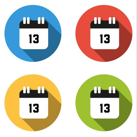 number 13: Set of 4 isolated flat colorful buttons (icons) for number 13 - date, calendar, etc.