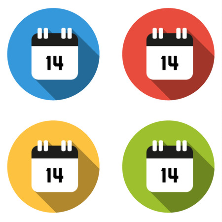 fourteenth: Set of 4 isolated flat colorful buttons (icons) for number 14 - date, calendar, etc. Illustration