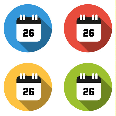 twenty six: Set of 4 isolated flat colorful buttons (icons) for number 26 - date, calendar, etc.