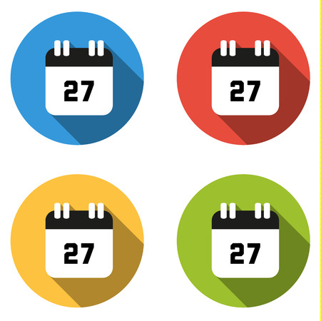 seventh: Set of 4 isolated flat colorful buttons (icons) for number 27 - date, calendar, etc. Illustration