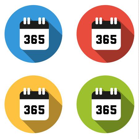 数 365 - 年の日数の 4 分離フラット カラフルなボタン (アイコン) のセット