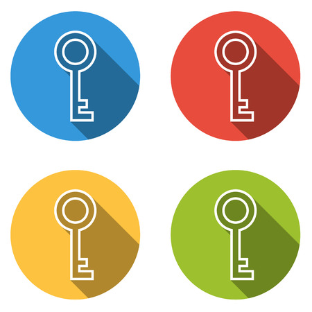 private access: Set of four colorful buttons isolated flat icons for key private login access ...