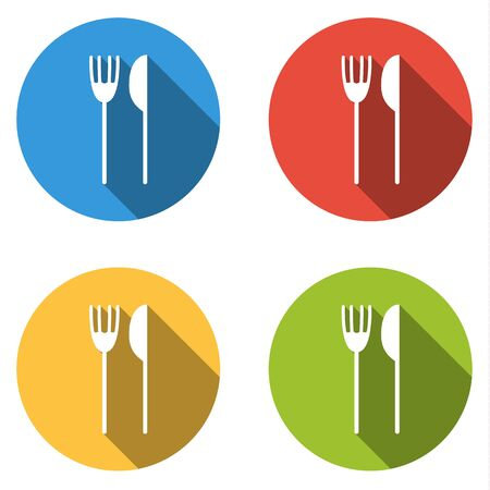 lunchroom: Set of four colorful buttons isolated flat icons for fork and knife