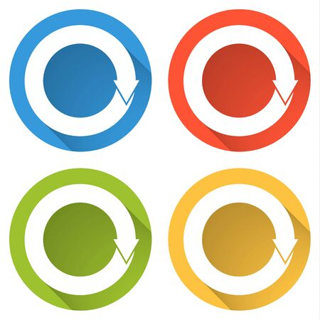 again: Set of four colorful buttons isolated flat icons for refresh reload repeat ... Illustration