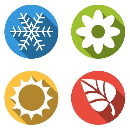 4 つのカラフルなボタンのセットの分離がフラット四季の春の日の花を冬の雪の結晶アイコン夏と秋の葉  イラスト・ベクター素材