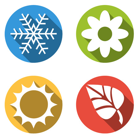 winter flower: Set of four colorful buttons isolated flat for 4 seasons snowflake icons for winter flower for spring sun for summer and autumn leaf for