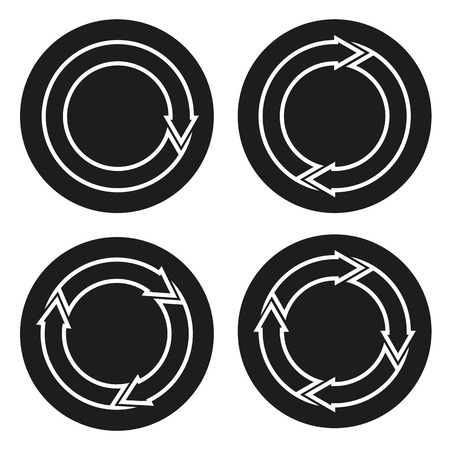 outlined isolated: Set of 4 buttons isolated icons with rounded Outlined arrows