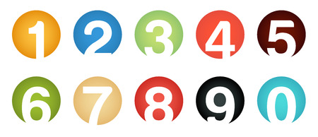 web 2 0: Set of unusual icons isolated number 0 to 9 in circles with colorful gradients