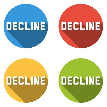 decline: Set of four isolated colorful flat buttons with icons for DECLINE long shadow