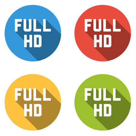 full hd: Set of 4 isolated flat colorful buttons for FULL HD sign with long shadow