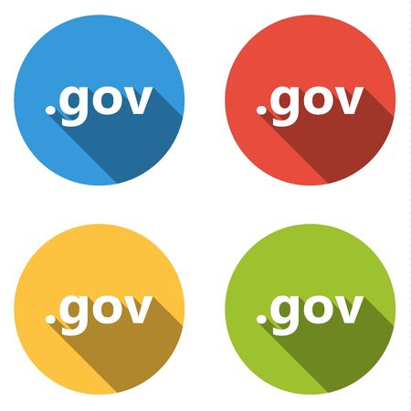 gov: Set of four colorful buttons isolated flat icons for .gov domain