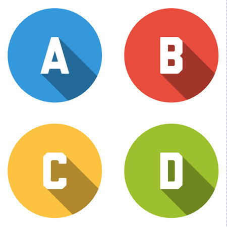 d offer: Set of four isolated colorful buttons icons flat for 4 Possibilities in different colors Illustration