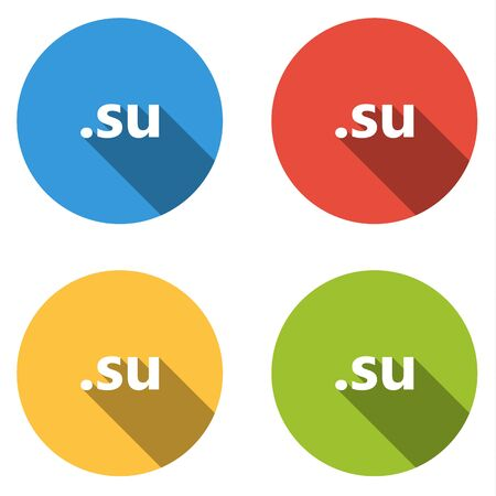 su: Set of four colorful buttons isolated flat icons for .su domain Illustration