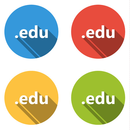 edu: Set of four colorful buttons isolated flat icons for .edu domain