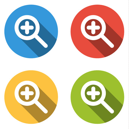 zoom in: Set of 4 isolated flat colorful buttons (icons) for zoom in (magnify)