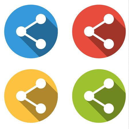 long recovery: Set of 4 isolated flat colorful buttons (icons) for share