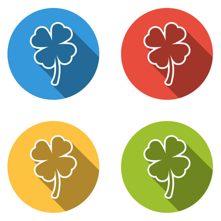 four: Set of 4 isolated flat colorful buttons (icons) for four leaf (shamrock)