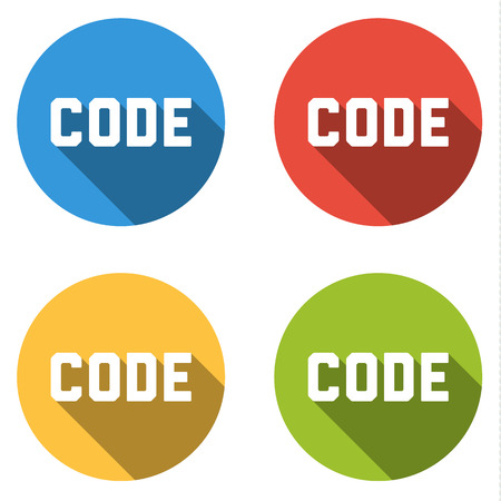 stylesheet: Set of 4 isolated flat colorful buttons (icons) with CODE text