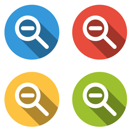 shrink: Set of 4 isolated flat colorful buttons (icons) for zoom out (shrink)