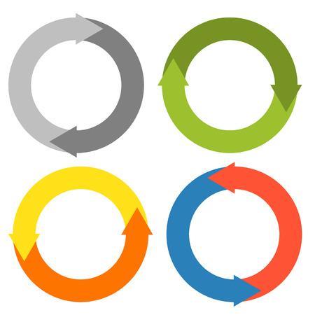 リサイクルのための異なる色で 4 円の分離円セットを作る 2 の矢印は、更新等を再起動します。  イラスト・ベクター素材