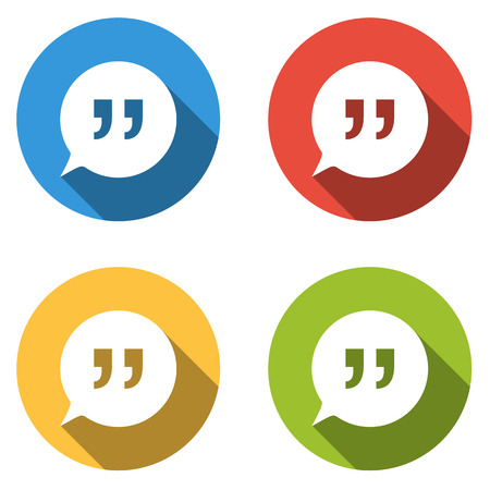 idea bubble: Set of four colorful buttons isolated flat icons for speech bubbles with quotes talk dialog chat contact conversation opinion forum message ... Illustration
