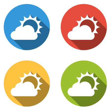 partly: Set of four colorful buttons isolated flat icons for part of partly cloudy weather icon set