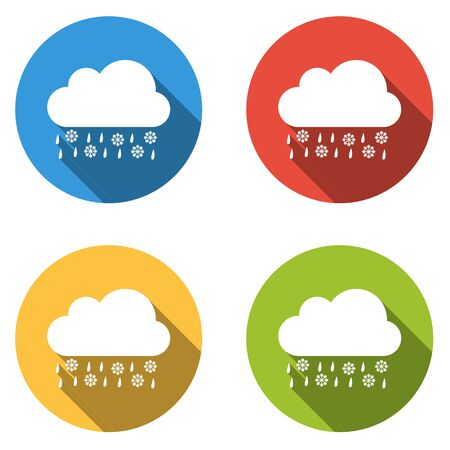 sleet: Set of four colorful buttons isolated flat icons for Sleet part of weather icon set Illustration