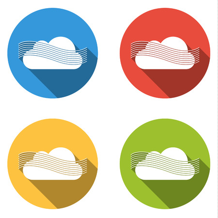 meterology: Set of four colorful buttons isolated flat icons for wind or fog part of weather icon set Illustration