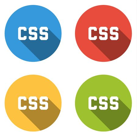 cascading style sheets: Set of four colorful buttons isolated flat icons for CSS Cascading Style Sheets Illustration