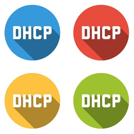 protocol: Set of four colorful buttons isolated flat icons for DHCP Dynamic Host Configuration Protocol