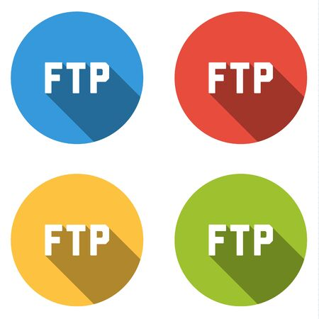 ftp: Set of four colorful buttons isolated flat icons for FTP File Transfer Protocol