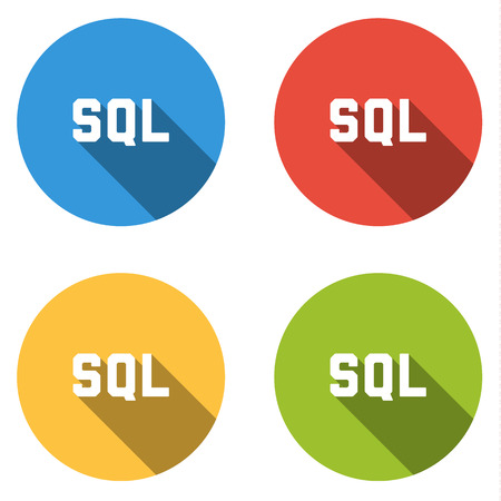 sql: Set of four colorful buttons isolated flat icons for SQL title