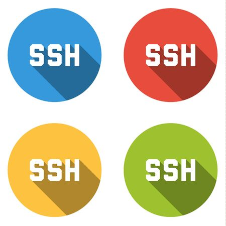 Set of four colorful buttons isolated flat icons for SSH Secure Shell
