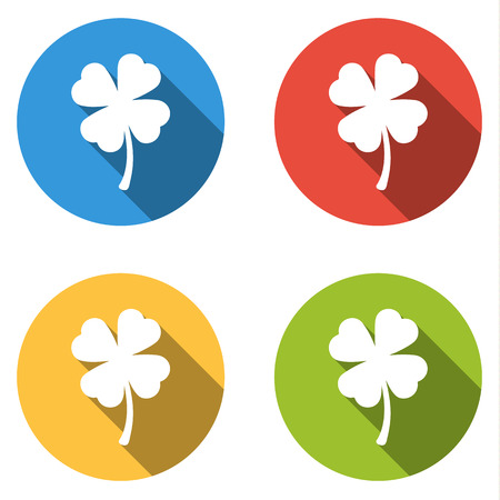 shamrock: Set of four colorful buttons isolated flat icons forleaf shamrock Illustration