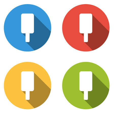 lolly: Set of four colorful buttons isolated flat icons for ice cream lolly Illustration