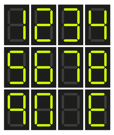 Set of 10 isolated digital neon numbers no number and E for Error