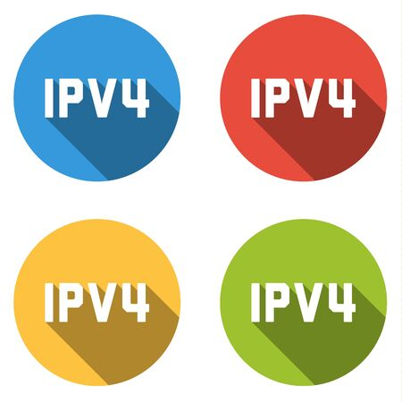 protocol: Set of four colorful buttons isolated flat icons for IPV4 Internet Protocol version 4
