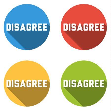 pas d accord: Ensemble de quatre boutons color�s isol� ic�nes plates pour d�saccord Illustration