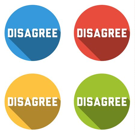 disagree: Set of four colorful buttons isolated flat icons for Disagree